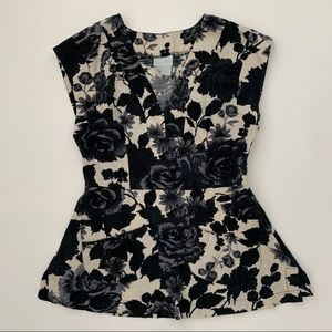 {Anthropologie} Tracy Reese Black Floral Tank XS/4